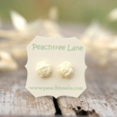 Cream Ivory Rose Earrings