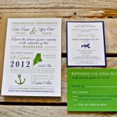 Wedding Invitation: Modern and Nautical Anchor - Green and Navy