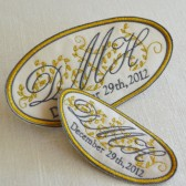 French Silk and Gold Satin Custom Embroidered Wedding Dress Label, His and Hers
