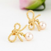 Blush Pink Pearl Bow Earrings