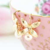 Golden Flower Earrings With Blush Pink Pearls