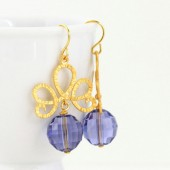 Purple Crystal and Gold Scroll Earrings