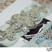 Something blue, crystal applique garter set