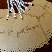 Just For You Doily Lace Wedding Favor Gift Tags