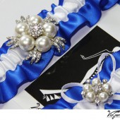 ROYAL BLUE satin ribbon garter set
