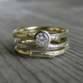 Diamond Twig Wedding Ring Set - Rose, Yellow, or White Gold - .25ct Diamond