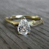 Pear White Sapphire Twig Ring in White or Yellow Gold