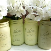 Greens and Yellow - Painted Mason Jars