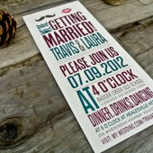 Wedding Invitation: Rustic and Modern - Mustache and Kiss