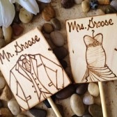 Personalized Custom Cake Toppers Hand Engraved with YOUR Wedding Dress and His Tux