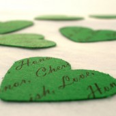 Personalized Confetti // Custom Confetti Paper Hearts // Green