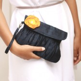 Dark Blue Clutch with Yellow Flower