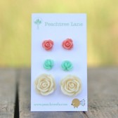Seafoam Mint Green Flower Earrings <<  Cream Ivory Rose Earrings << Pink Rose Earrings