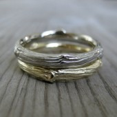 Twig Wedding Band Set, Two 3mm Rings in 14k Gold