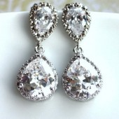Large Cubic Zirconia Lux Wedding Earrings