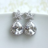 A White Gold Plated Cubic Zirconia Star Fish, Silver Plated Frame Cubic Zirconia Pear Earrings