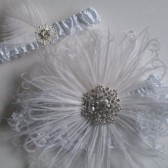 GATSBY Wedding Garter, White Lace Bridal Garters, Crystal Snowflake Garter, Art Deco Flapper Garter, Feather Garters, Vintage Winter Bride