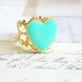 Heart Ring - Mint Green Gold Plated