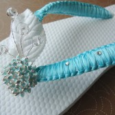 Turquoise -Flip Flops. Turquoise - Aqua-Teal in macrame with Swarovski Crystals-Macrame Collection-001