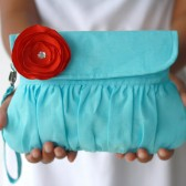 Aqua and Red Clutch