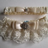 Wedding Garter Set, Ivory Satin Garters, Vintage Inspired, Ivory Lace Garter, Rhinestone Garter, Kitsch Retro Garter, June Destination Bride