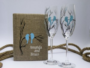 Burlap linen guest book and hand painted champagne glasses - Blue Birds on brunch Wedding flutes