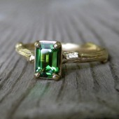 SALE: Tourmaline Emerald Cut Twig Ring, Yellow Gold, Ready to Ship