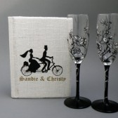 READY TO SHIP Burlap linen guest book and hand painted champagne glasses - Groom and bride on bicycle and vintage flowers