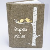 Wedding guest book burlap Linen Wedding guest book Personalized Gold Birds on white birch tree