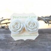 Large Cream Ivory Rose Earrings