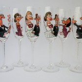 Hand painted Bridal shower party and wedding Personalized Champagne glasses customized cartoon portraits