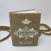 Wedding guest book burlap Linen Bridal shower engagement anniversary Royal white Crown