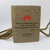 Wedding guest book burlap Linen personalized with important message from Bible Corinthians 13:13 and Red Birds