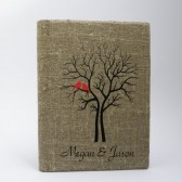 Wedding guest book burlap Linen Wedding guest book Bridal shower engagement anniversary Red Cardinals on the Tree