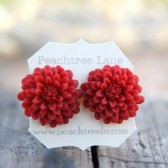 Large Oxblood Red Chrysanthemum Earrings