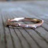Rose, White, or Yellow Gold Scattered Diamond Twig Wedding Band, Recycled Gold, 2mm