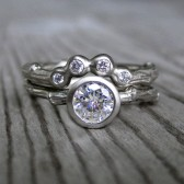 Diamond Twig Engagement and Wedding Ring Set - Yellow, White, or Rose Gold - VS1/G .50ct Diamond