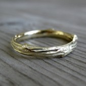 Twig Wedding Band: Yellow, White, or Rose Gold, 3-4mm wide