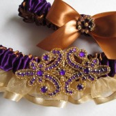 Purple Gold Satin Wedding Garter Set