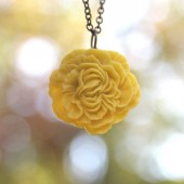 Mustard Yellow Peony Flower Necklace