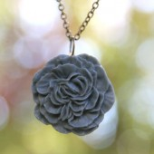Slate Blue Gray Peony Flower Necklace