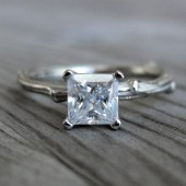 Princess Moissanite Twig Engagement Ring
