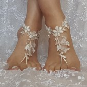 Free ship ivory copper cord wedding barefoot sandles anklet prom party barefeet bangle beach anklets bangles bridal bride bridesmaid