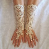 Long champagne gold or Ivory Wedding gloves free ship bridal fingerless french lace arm warmers cuff gauntlets fingerloop, Long lace glove gatsby wedding