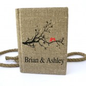 Wedding rustic guest book burlap Linen Wedding guest book Bridal shower engagement anniversary Red birds on the tree brunch