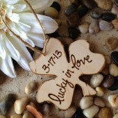 Irish Shamrock Gift Tag Lucky in Love Personalized Newly Engaged or Newlyweds Wedding