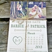 Photo Save the Date: Rustic Heart Calendar