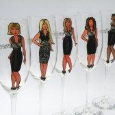 SALE Hand painted Bridal shower party Personalized Wine glasses Portraits and bridesmaids dresses