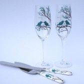 4 pc SET of Hand painted Wedding Toasting Flutes Champagne glasses and cake knives Teal birds on branch