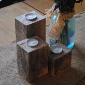 3 Rustic Wood Tealight Holders